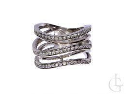 pierścionek srebrny ekskluzywny obrączka cyrkonie klasyczne pierścionek nowoczesny wzór na palcu realne zdjęcie