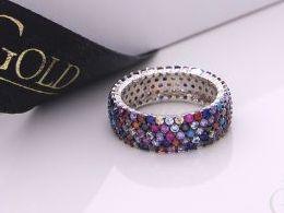 pierścionek srebrny obrączka z cyrkoniami kolorowymi kolorowe cyrkonie pierścionki srebrne realne zdjęcie na palcu dłoni na prezent urodziny imieniny pod choinkę na prezent dla dziewczyny żony