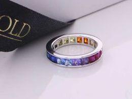 pierścionek srebrny obrączka z cyrkoniami kolorowe cyrkonie pierścionki srebrne realne zdjęcie na palcu dłoni na prezent urodziny imieniny pod choinkę na prezent dla dziewczyny żony