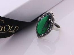 pierścionek srebrny szmaragd markazyty z cyrkoniami cyrkonie pierścionki srebrne realne zdjęcie na palcu dłoni na prezent urodziny imieniny pod choinkę na prezent dla dziewczyny żony