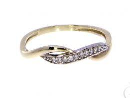 pierścionek złoty zaręczynowy nowoczesny z cyrkoniami zaręczyny cyrkonie złoto żółte 14K 0.585 pierścionek na palcu w pudełku realne zdjęcie zdjęcia pierścionek zaręczynowy na rocznicę pamiątkę mikołaja pod choinkę