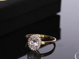 złoty pierścionek zaręczynowy duża korona owalna nowoczesny wzór złoto żółte próba 0.585 cyrkonia pierścionki zaręczynowe klasyczne młodzieżowe nowoczesne na prezent