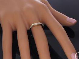 złoty pierścionek obrączka nowoczesny wzór złoto żółte próba 0.585 cyrkonia pierścionki zaręczynowe klasyczne młodzieżowe nowoczesne na prezent