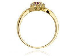 pierścionek złoty z brylantami diamentami ametystem ametyst markiza oliwin na palcu na ręce realne zdjęcie zdjęcia klasyczny wzór brylanty diamenty złoto żółte próba 0.585 14k