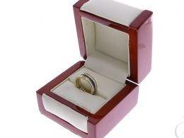złoty pierścionek obrączka cyrkonie czarna klasyczne realne zdjęcie