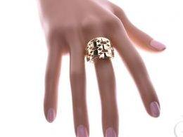 pierścionek złoty obrączka ażurowy szeroki gruby złoto żółte 14K 0.585 pierścionek na palcu w pudełku realne zdjęcie zdjęcia pierścionek zaręczynowy na rocznicę na urodziny imieniny dla dziewczyny żony pamiątkę mikołaja pod choinkę