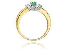 złoty pierścionek zaręczynowy szmaragd naturalny brylanty złoto żółte próba 0.585