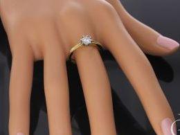 złoty pierścionek zaręczynowy duży klasyczny żółte złoto pierścionek na palcu na dłoni realne zdjęcie pierścionki złote zaręczynowe na prezent dla żony dziewczyny na rocznicę
