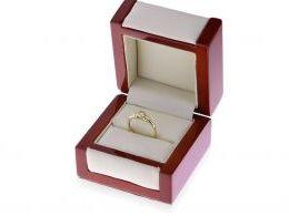 złoty pierścionek zaręczynowy w pudełku realne zdjęcia zdjęcie klasyczny złoto żółte białe złoto próba 0.585 cyrkonia pierścionki zaręczynowe klasyczne