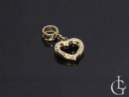 przywieszka beads charms złote serduszko serce złoto żółte 0.585