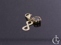 złoty wisiorek przywieszka do bransoletki beads koniczynka czarna cyrkonia znak nieskończoności złoto żółte