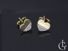 serduszka złote kolczyki z brylantami diamentami zapięcie sztyft kolczyki z brylantem różne wzory