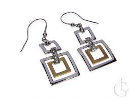 kolczyki srebrne pozłacane wiszące kwadraty piaskowane srebro
