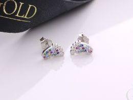 kolczyki srebrne stópki kolorowe cyrkonie srebro realne zdjęcia na modelce uchu kolczyki srebrne na prezent dla żony dziewczyny urodziny imieniny rocznicę pakowanie na prezent
