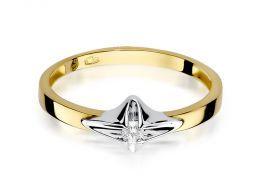 złoty pierścionek z brylantem klasyczny wzór pierścionka złoto żółte i białe próba 0.585 14ct