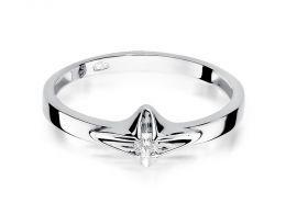 pierścionek zaręczynowy z brylantem z białego złoto klasyczny wzór pierścionka złoto żółte próba 0.585