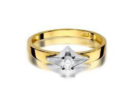 pierścionek zaręczynowy złoty z brylantem złoto żółte i białe klasyczny wzór złoto próba 0.585 14ct