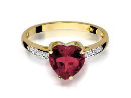 złoty pierścionek zaręczynowy z rubinem i brylantami korona serce rubin złoto żółte próba 0.585
