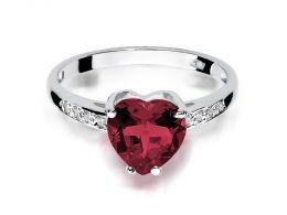 pierścionek zaręczynowy białe złoto serce korona rubin i brylanty złoto próba 0.585 14ct