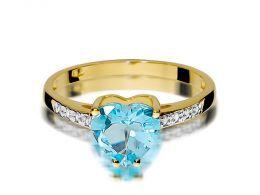 złoty pierścionek zaręczynowy z sercem w koronie topaz i brylanty złoto żółte próba 0.585 14K