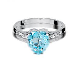 pierścionek zaręczynowy z białego złota z topazem naturalnym i brylantami korona serce topaz i brylanty złoto białe 0.585