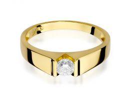złoty pierścionek z brylantem dużym zaręczyny klasyczny wzór pierścionka złoto żółte próba 0.585 14K