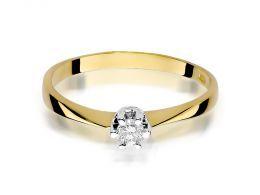 pierścionek zaręczynowy klasyczny wzór brylant duży złoto żółte próba 0.585