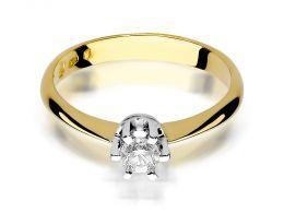 złoty pierścionek na zaręczyny z dużym  brylantem w centralnej części złoto żółte próba 0.585 14ct