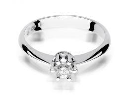 pierścionek klasyczny zaręczynowy z białego złota duży brylant w centralnej części złoto białe próba 0.585 14ct