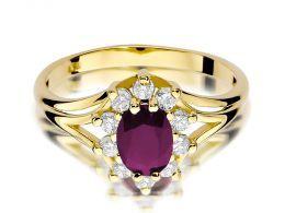 złoty pierścionek zaręczynowy z rubinem i brylantami duża korona markiza złoto żółte próba 0.585 14ct pierścionek na palcu dłoni realne zdjęcie prezent dla żony dziewczyny