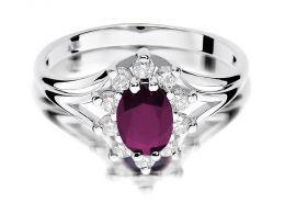 złoty pierścionek zaręczynowy z dużym rubinem naturalnym i brylantami złoto białe próba 0.585