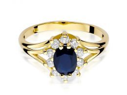 złoty pierścionek na zaręczyny z dużym szafirem naturalnym i brylantami złoto żółte klasyczne próba 0.585