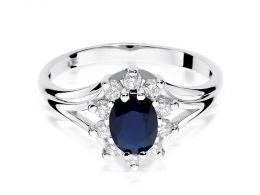 pierścionek zaręczynowy markiza z białego złota szafir naturalny i brylanty złoto białe próba 0.585