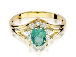 złoty pierścionek markiza na zaręczyny szmaragd naturalny i brylanty złoto żółte próba 0.585 14ct