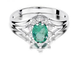 pierścionek zaręczynowy markiza szmaragd naturalny i brylanty złoto białe próba 0.585 14K