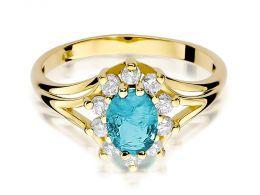 złoty pierścionek markiza na zaręczyny topaz naturalny i brylanty złoto żółte próba 0.585 14ct