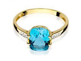 złoty pierścionek zaręczynowy z dużym centralnym kamieniem topazem naturalnym i brylantami złoto żółte próba 0.585
