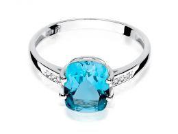 pierścionek zaręczynowy z białego złota duży topaz naturalny brylanty złoto białe próba0.585