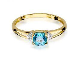 złoty pierścionek zaręczynowy z topazem naturalnym i brylantami klasyczny model pierścionka pierścionek na palcu dłoni realne zdjęcie zdjęcia prezent dla żony dziewczyny pod choinkę walentynki rocznicę ślubu
