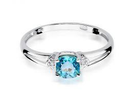 pierścionek zaręczynowy z białego złota topaz naturalny brylanty diamenty klasyczny wzór pierścionka złoto białe 0.585