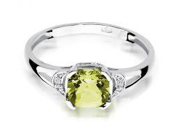 pierścionek z białego złota oliwin naturalny zielony kamień i brylanty diamenty złoto białe 0.585