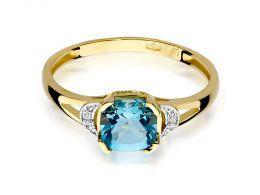 pierścionek zaręczynowy złoto żółte topaz naturalny niebieski kamień brylanty diamenty po bokach
