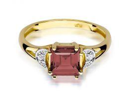 ekskluzywny pierścionek zaręczynowy złoty z granatem naturalnym i brylantami złoto żółte próba 0.585 14ct