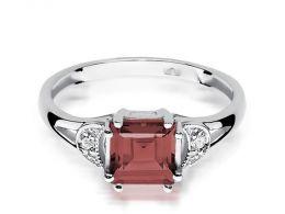 złoty pierścionek zaręczynowy granat naturalny brylanty białe złoto próba 0.585