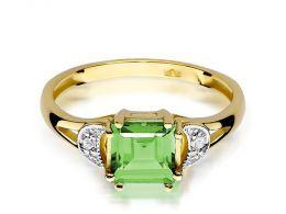 złoty pierścionek zaręczynowy z oliwinem naturalnym i brylantami złoto żółte klasyczne próba 0.585