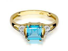złoty pierścionek zaręczyny topaz naturalny kwadratowa korona brylanty diamenty złoto żółte próba 0.585