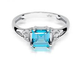 pierścionek z białego złota zaręczynowy topaz naturalny niebieski kamień brylanty diamenty złoto białe próba 0.585