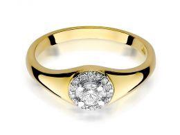 złoty pierścionek zaręczynowy z żółtego złota z brylantami korona okrągła kółko brylanty