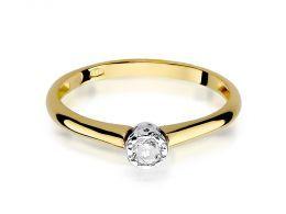 złoty pierścionek zaręczynowy z brylantami klasyczny wzór złoto żółte 0.585 14ct