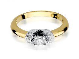 złoty pierścionek ekskluzywny idealny na zaręczyny brylanty złoto żółte próba 0.585